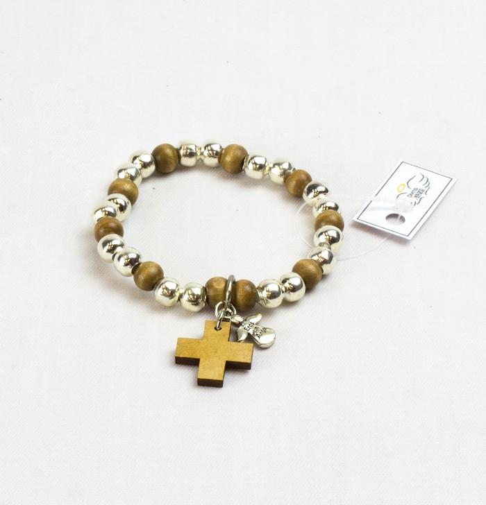 ca385d127ac7 Pulsera denario y cruz de madera